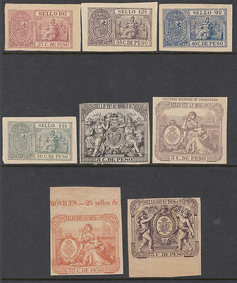 Spain Caribbean Island Colony Sello Revenues 8 diff mint stamps 1886-98