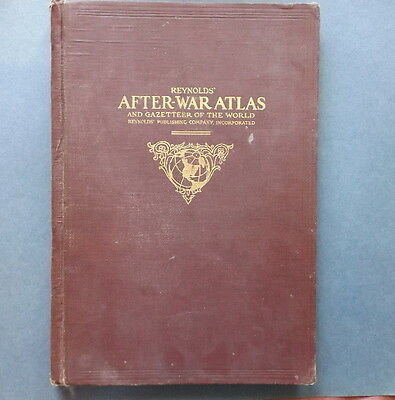 Antique 1919 Reynolds After War Atlas, WWI, World + 40 Maps of US Car Routes
