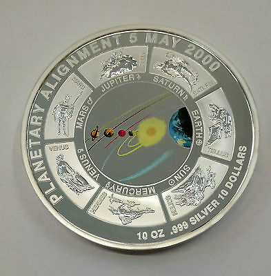 COOK ISLANDS 2000 10 Oz. 999. PLANETARY  ALIGNMENT  SILVER PROOF see description