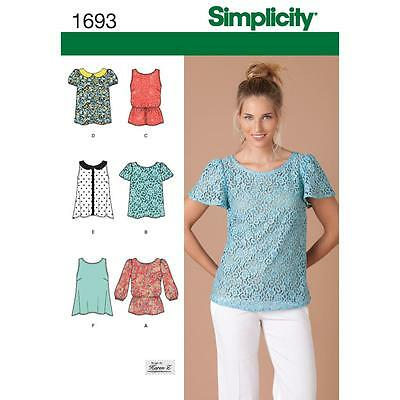Simplicity Sewing Pattern Misses'tops Size 4 - 20 1693