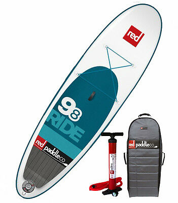 Save $400! 2015 Red Paddle Co Ride 9-8 Inflatable SUP Paddle Board w/pump & pack