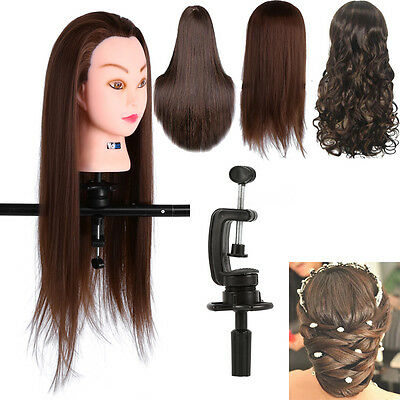 "24"" 30% Real Human Hair Hairdressing Training Head Mannequin Doll Free Clamp UK"