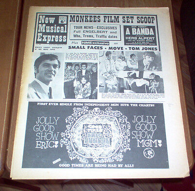 NME New Musical Express Magazine 1967 Small Faces The Move Beatles Monkees UK