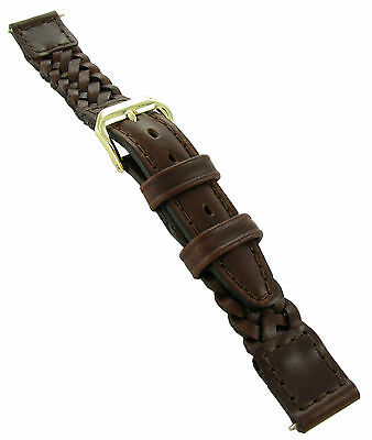 14mm Kreisler Genuine Leather High Quality Hand Woven Brown Watch Band BOGO
