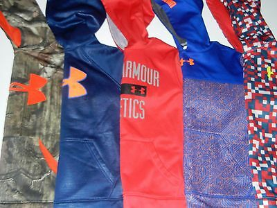 Under Armour Storm Boys YMD M Lot 5 Hooded Hoodie Sweatshirts Camo Blue Red CQ