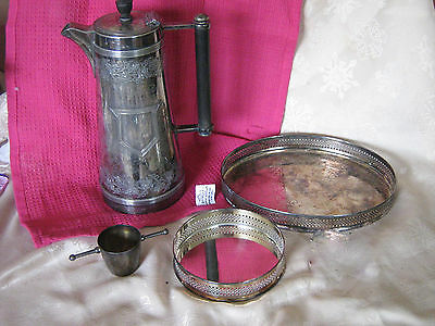 Collection of 5 Silver Plate Large  elborate Coffee pot , Stands, Pot & Tray