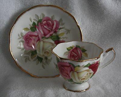 """Vintage Queen Anne """"Lady Sylvia"""" 3 Roses Pattern Teacup and Saucer"""