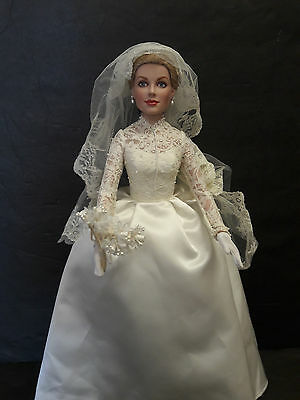 Franklin Mint Princess Grace Vinyl Wedding Bride Doll With Stand 16""