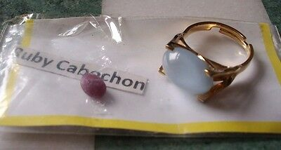 VINTAGE SARAH COVENTRY ICE BLUE CABOCHON MOON GLOW RING + loose Ruby Cabochon