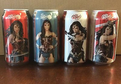 Dr. Pepper WONDER WOMAN 2017 Movie Set Of 4 Cans - Bottom Opened - Ships In Box