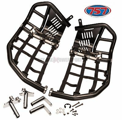Honda TRX 400EX 400X Nerf Bars Foot Pegs Heel Guards Black Bars Black Nets