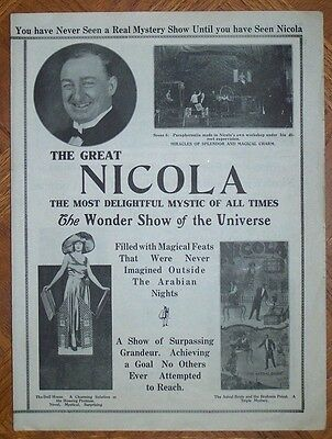 THE GREAT NICOLA TRI-FOLD PROMOTIONAL FLYER   Willam Nicol