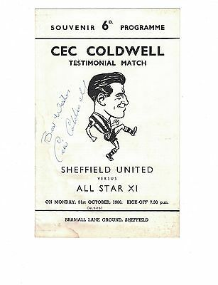 SHEFFIELD UNITED v ALL STAR X1 31st October 1966 Coldwell testimonial signed by