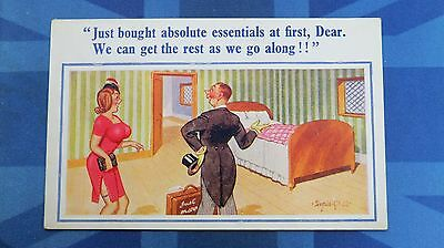 Risque Donald McGill Comic Postcard 1950s Stockings Garter Big Boobs Newly Weds