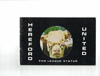 Hereford United Promotional Booklet For League Membership 1972