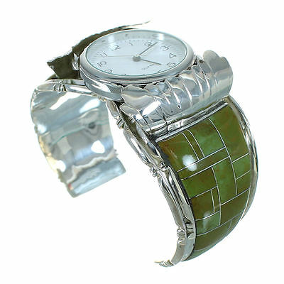 Southwestern Turquoise Authentic Sterling Silver Cuff Watch RX65852