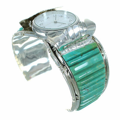 Authentic Sterling Silver Southwestern Turquoise Inlay Cuff Watch RX65861