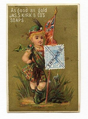 KIRK SOAP Trade Card 1880's with ENGLAND Stamp Fascimile FLAG Kilt
