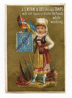KIRK SOAP Victorian Trade Card with Sweden Norway Stamp Facsimile Little Girl
