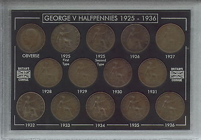 1925-1936 King George V Halfpennies Halfpenny Coin Collector Collecting Gift Set