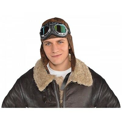 Aviator Hat with Goggles Costume Accessory Set Adult Halloween
