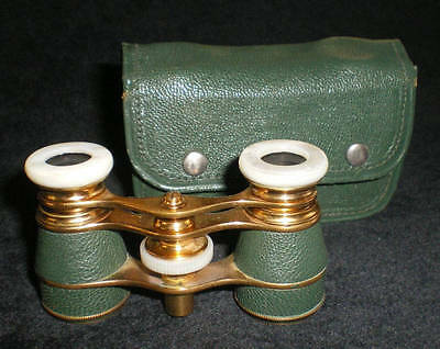 Antique France Opera Glasses with Case Green Leather Mother Of Pearl