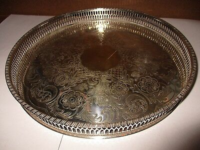 Viners Alpha Plate Silver Plate Chased Gallery Tray Sheffield