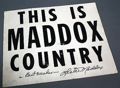"1960's THIS IS LESTER MADDOX COUNTRY Campaign Poster Georgia Governor ""Signed"""