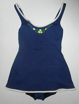 Vtg 50s 60s CATALINA Bathing Swim Suit NAVY BLUE Floral Skirted ROMPER : Sz 12