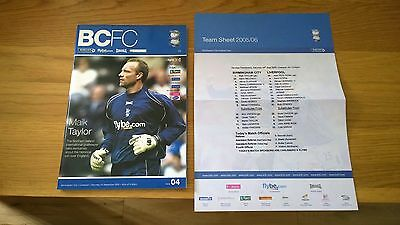 2005-06 Birmingham City v Liverpool + Teamsheet