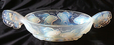 HUGE RARE  French Art Deco Opaline Glass Large Verlys Fish Bowl 1930s Signed