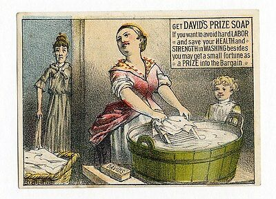 DAVID'S PRIZE SOAP Victorian Trade Card 1880's Laundry Housewife Home
