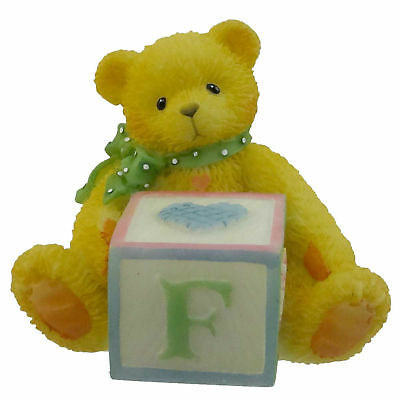 Cherished Teddies BEAR WITH ABC BLOCK Resin Teddy Bear Miniature Block 158488 F