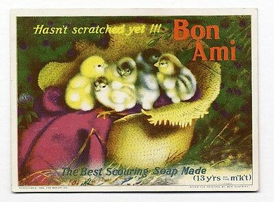 Baby Chicks BON AMI Scouring Soap Trade Card 1904 Age Puzzle Game on Back