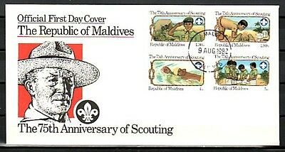 Maldive, Scott cat. 956-959. Scouting, 75th Anniversary issue. First day cover.