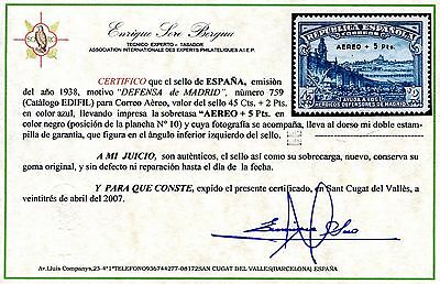 ★ EDIFIL 759. 1938 - DEFENSA DE MADRID AEREO+5 Pts. CERTIFICADO SORO (+450€) ★