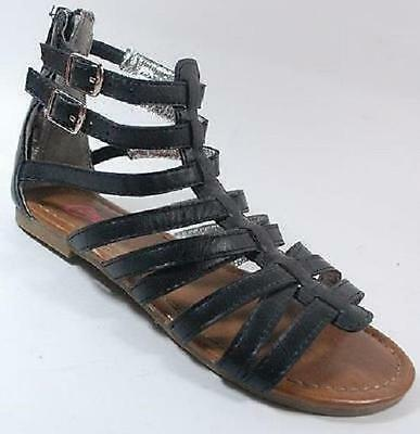 bd77adf2af32 Girl s Youth CANDIES POSH Black Strappy Zip Up Dress Sandals Shoes NEW