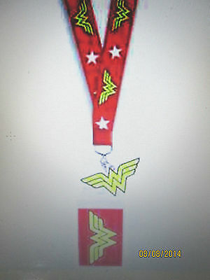 Wonder Woman With Yellow Ww Rubber Charm And Id Logo Red Lanyard New