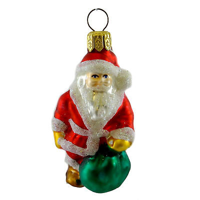 Holiday Ornament SANTA WITH BAG Blown Glass Christmas St Nicholas M97 RED