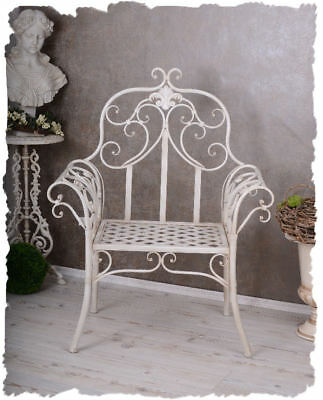 nostalgie stuhl shabby chic gartenstuhl weiss eisenstuhl. Black Bedroom Furniture Sets. Home Design Ideas