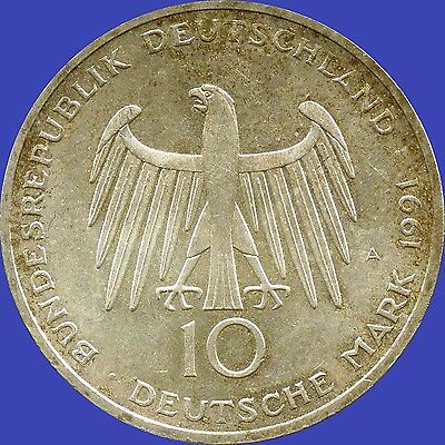 1991 'A' Germany 10 Mark Silver Coin (15.5 grams .625 Silver)