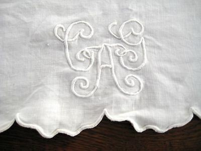 "Pair Antique Victorian European Boudoir Pillow Covers Shams Monogram ""A"" or CAG"""