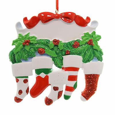 Personalized Ornament SOCK FAMILY OF 5 ORNAMENT Resin Christmas Holly D1928