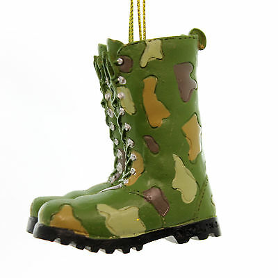 Holiday Ornaments FATIGUE BOOTS ORNAMENT Polyresin Military Combat Resin A1162