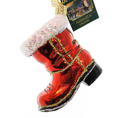 Old World Christmas SANTA'S BOOT Blown Glass 32060