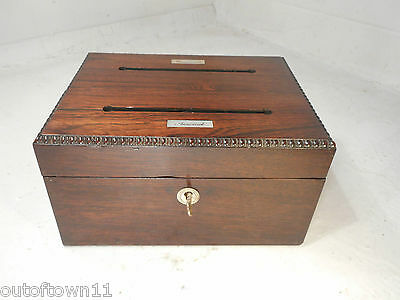 Antique Desktop Rosewood Letter Box   ,   ref2312