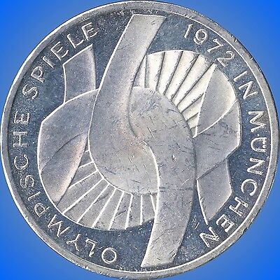 1972 'J' Germany 10 Mark Olympic Silver Coin (15.5 Grams .625 Silver)