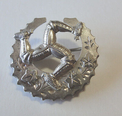 Celtic Brooch, Embossed Antique Hallmarked Sterling Silver Isle of Man