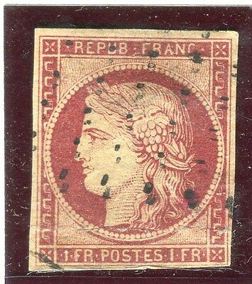 FRANCE;   1849 Scarce classic Imperf Ceres issue 1Fr. fine used value,