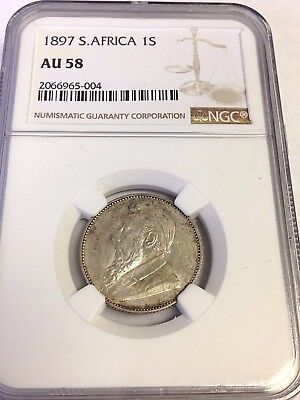 1897 South Africa One Shilling, 1S silver, NGC AU-58